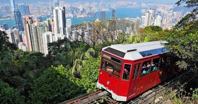 Peak Tram / die Standseilbahn auf Hongkong Island