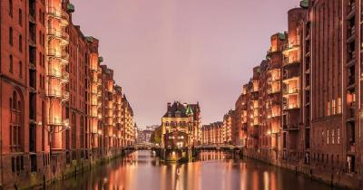 Hamburg - Moated castle in the Speicherstadt in the evening light