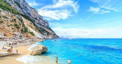 Sicily - sandy beach with blue sea