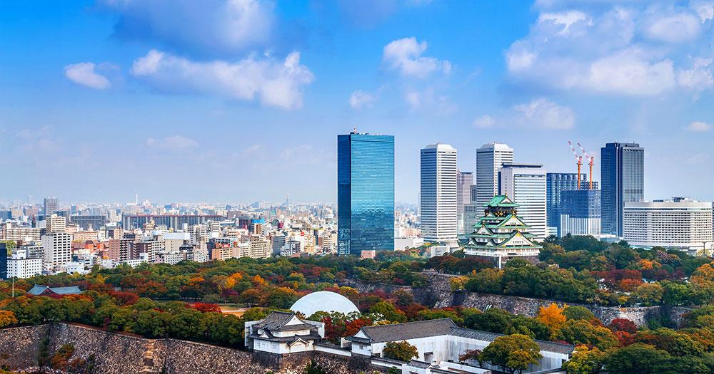 Osaka - Skyline mit Burg Osaka