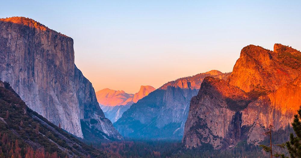 Yosemite-Nationalpark - im Sonnenuntergang