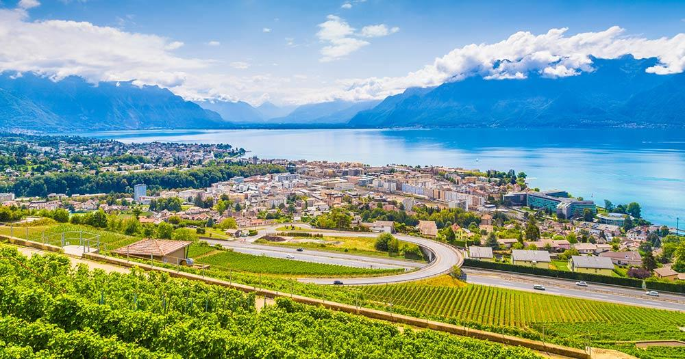 Genfersee / Stadt Vevey am Genfersee