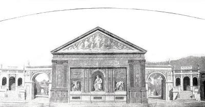 Oberammergauer Passionsspiele - Zeichnung der Bühne