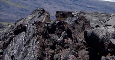 Hawaii-Volcanoes-Nationalpark / aufgebrochenes Lavafeld