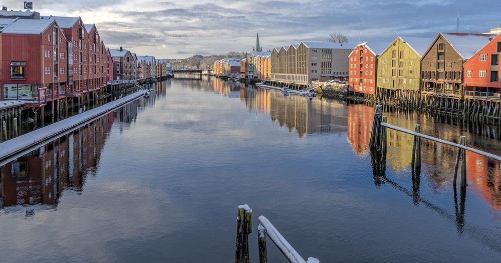 Trondheim / Bakklandet Lagerhäuser im Winter