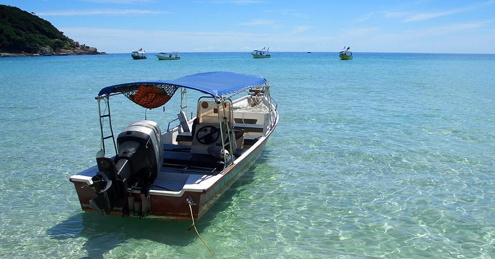 Perhentian Islands - ein Boot auf dem Weg zu den Perhentian Islands