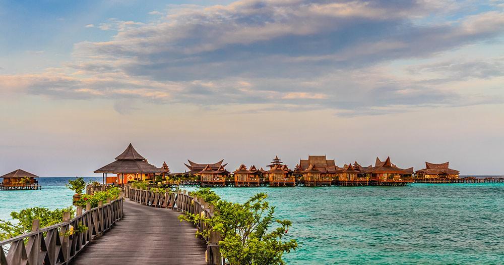 Borneo - Wasserbungalows auf der Insel mabul