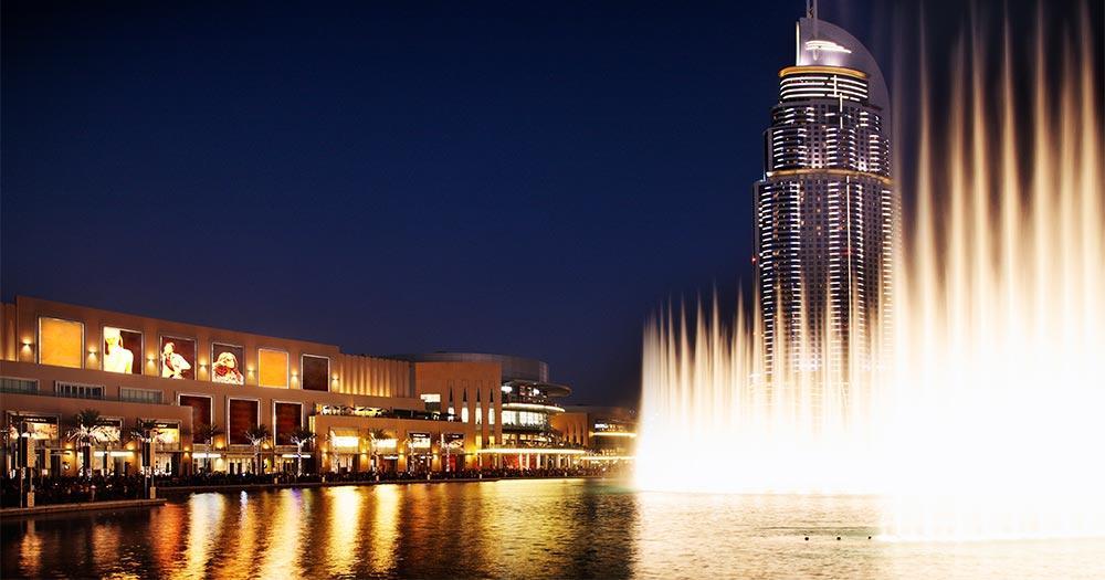 Wasserspiele von Dubai - bei Nacht