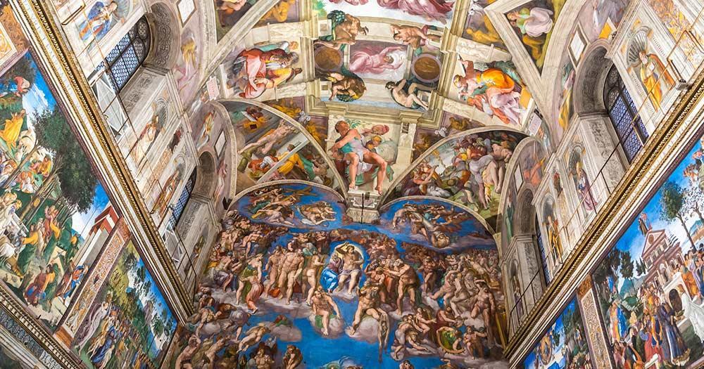 Vatikanstadt - Blick auf die berühmte Decke der Sixtinischen Kapelle