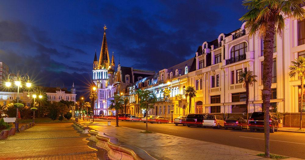Batumi - Der Europaplatz am Abend