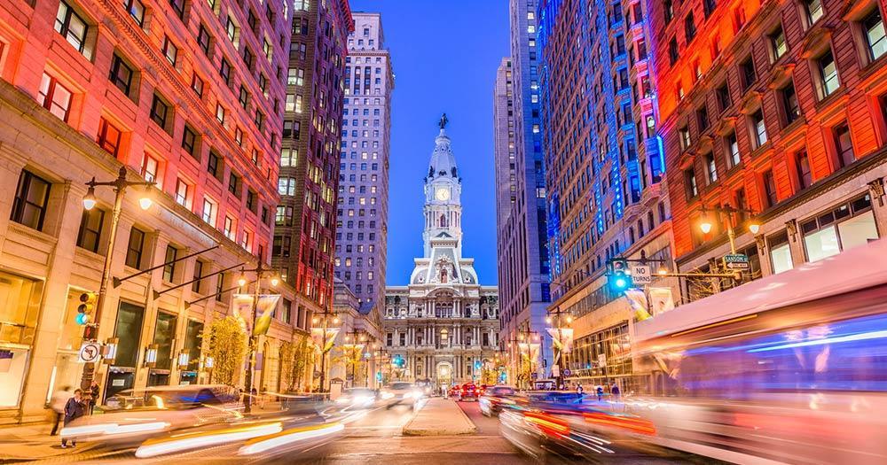 Philadelphia - abendlicher Verkehr