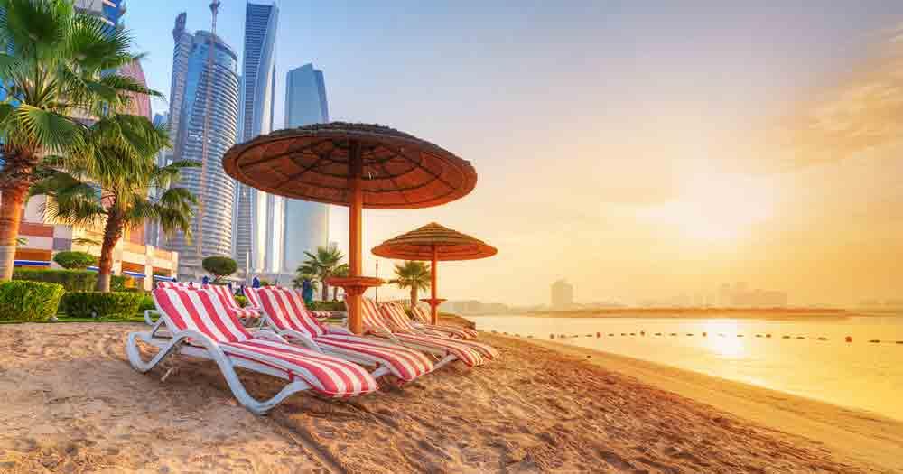 Abu Dhabi - Blick auf den Strand und das Meer