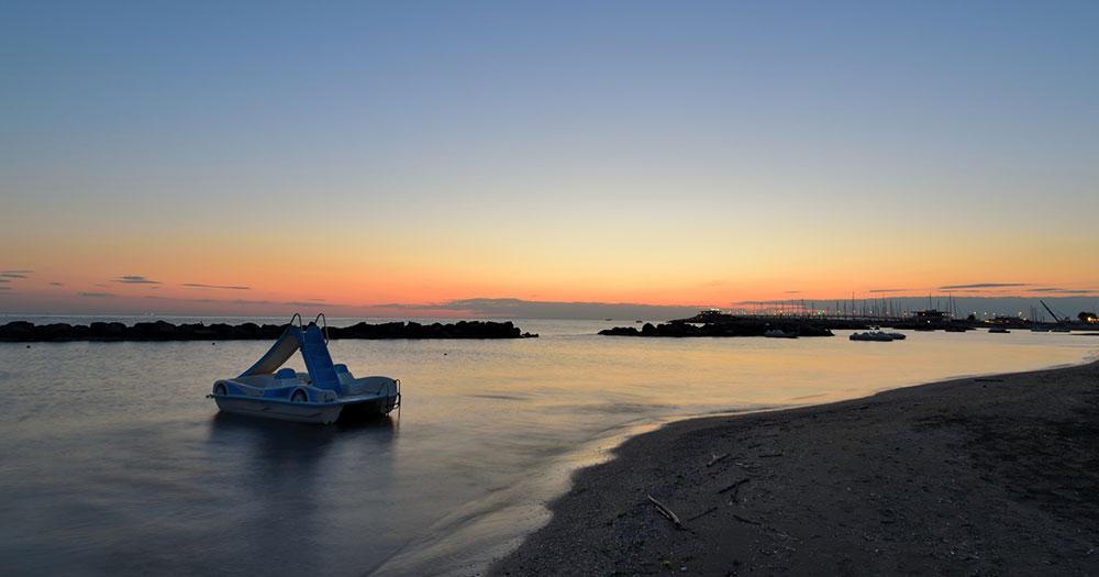 Rimini - Strand im Abendlicht