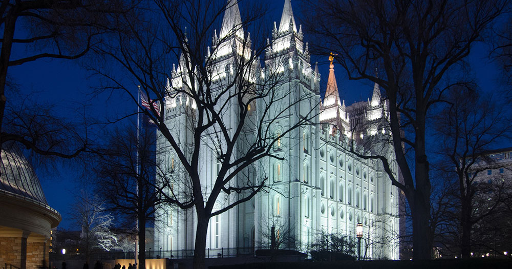 Salt Lake City - Der Salt Lake Tempel bei Nacht