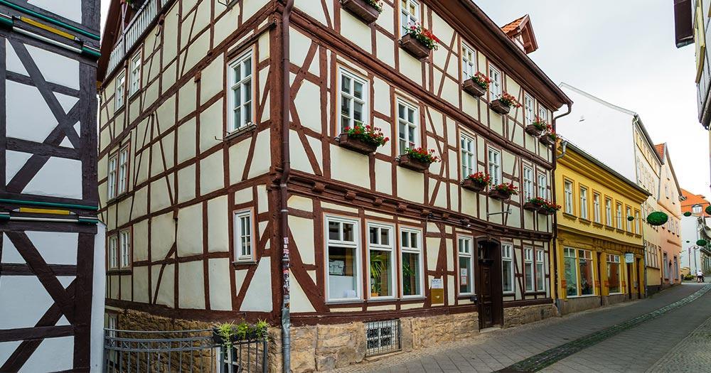 Mühlhausen - typische Hausfront