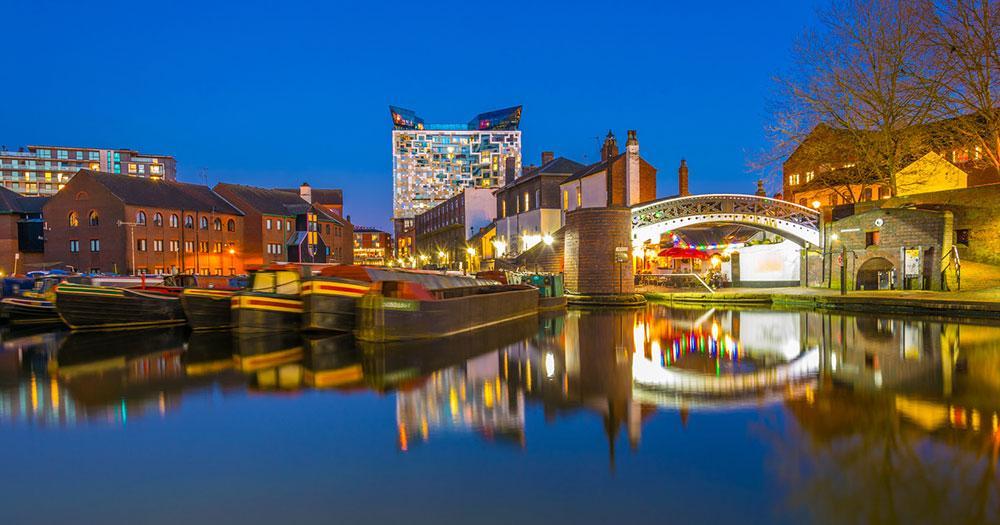 Birmingham - abendlicher Blick auf den Fluss