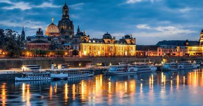 Frauenkirche Dresden - Skyline bei Nacht