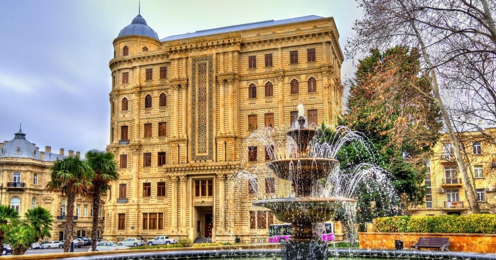 Baku - Blick auf die Philarmonic gardens